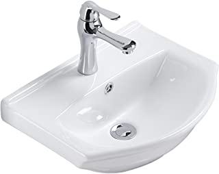 Small Wall Mount White Bathroom Sink Single Faucet Hole And Overflow Space Saving Design Renovator's Supply Manufacturing