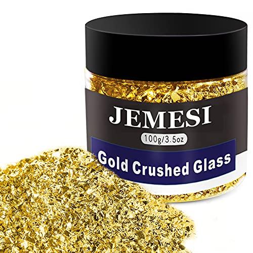 JEMESI 100g Cristal Triturado,2-4mm Cristal Metálico Triturado Reflectante Chips de Cuentas con Purpurina para Bricolaje, Resina, Relleno de Jarrones de Uñas, Joyería, Artesanía, Decoración (Oro)