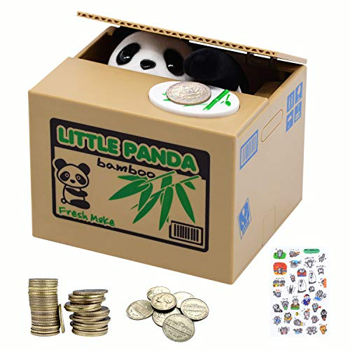 Elektronische Panda-Sparbüchse für Kinder und Erwachsene - Sparbüchse mit Pandas Pfote für Münzen - Lustiges Sparschwein für Kleingeld - Kleine elektrische Sparkasse - Sparbüchse - Panda Sparbüchse