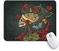 KAPANOUマウスパッド バラの茂みのヘビと蝶のアートワークと頭蓋骨の邪悪なメキシコの砂糖のスケルトン ゲーミング オフィ良い 滑り止めゴム底 ゲーミングなど適用 マウス 用ノートブックコンピュータマウスマット