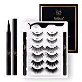 [6 Pairs] SeeSwan Eyelashes and Eyeliner Kit Pack, Premium Silk False Eyelashes,Natural Look,Comfortable,Stylish, Reusable Eyelashes with Eyeliner,Tweezers, Fake Eyelashes for Party, Daily,Glue Free
