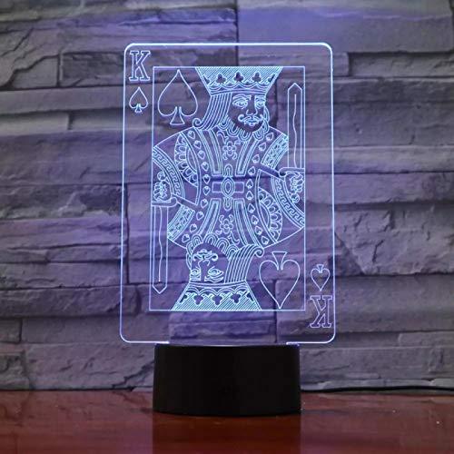 SCNYCUL 3D LED lámpara mesa luz nocturna Naipe tarjeta K16 colors niño regalo de fiesta de Navidad decoración hogar