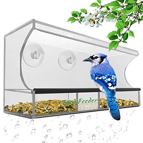 AnTom Premium Fenster Vogelfutterspender Vogelhäuschen mit Abnehmbarem Tablett, Ablasslöcher und 3 Saugnäpfe - Groß, Transparent,Durchsichtiges