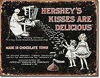 ハーシーキスミルクチョコレートティンサインヴィンテージアイアンペインティングメタルプレートノベルティデコレーションクラブカフェバー。