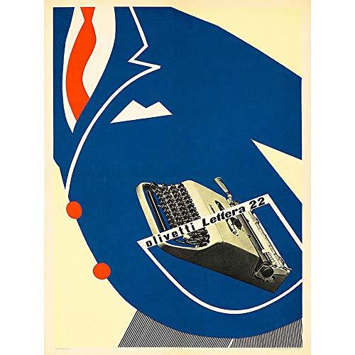 Wee Blue Coo Olivetti Typewriter Advert 1953 Art Print Poster Wall Decor 12X16 inch pubblicità Manifesto Parete