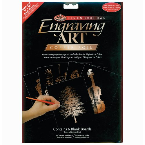 Royal Langnickel 8-Inch by 10-Inch Foil Engraving Art Blank Boards, Copper