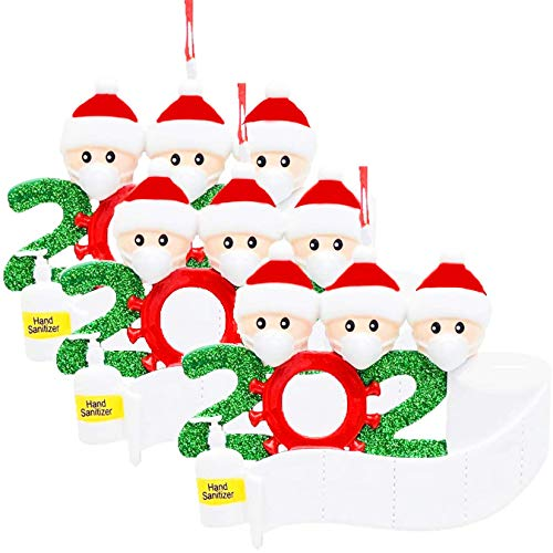 MSLAN 3-Pack Personalized Quarantine 2020 Christmas Ornament Kit with Paper, Customized Family Name Christmas Tree Decorating Set Creative Friends Gift (Family of 3)