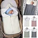 Ponacat Neugeborenen-Babyschlafsack 2-In-1-Wickeldecke mit Durchgehendem Reißverschluss Kleinkind Warmer Dicker Kinderwagen-Schlafsack Weiche Strickdecke Foto-Requisiten für Babys von 0 bis 12 Monaten