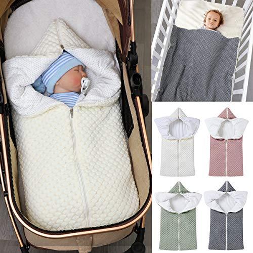 Ponacat Saco de Dormir para Bebé Recién Nacido Manta Envolvente con Cremallera Completa 2 en 1 para Niños Pequeños Saco de Dormir Cálido Y Grueso para Cochecito Fotografía de Manta Tejida Suave