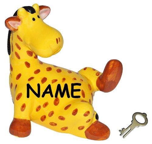 alles-meine.de GmbH XL Spardose -  Giraffe / Zootier  - incl. Name - mit Schlüssel - stabile Sparbüchse aus Porzellan / Keramik - Tiere Afrika Geld Sparschwein lustig witzig / ..