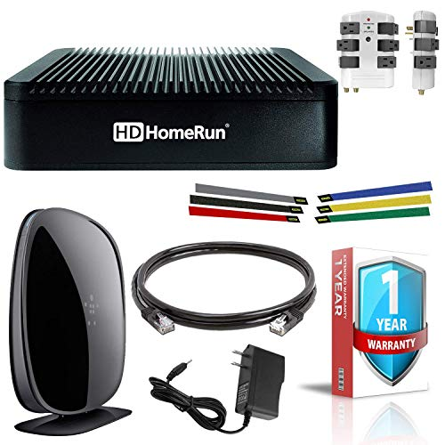 SiliconDust HDHomeRun Extend with Belkin Wireless Router, Cat5 Ethernet Cable, Surge Protector and Cable Organizers