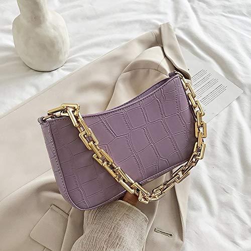 San-Hai Bolso de Cuero Ladies 2021 Señoras Cadena de Color sólido Hombro Hombro Bolso de Viaje Bolso de Viaje San-Hai (Color : Purple, Size : 25cmx14cmx4cm)