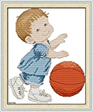 Lucsiky Kits de punto de cruz contados -Baloncesto bebé 18x22cm- Kit de bordado a mano con patrón de punto de cruz Diy Kit de bordado impreso Set decoración del hogar