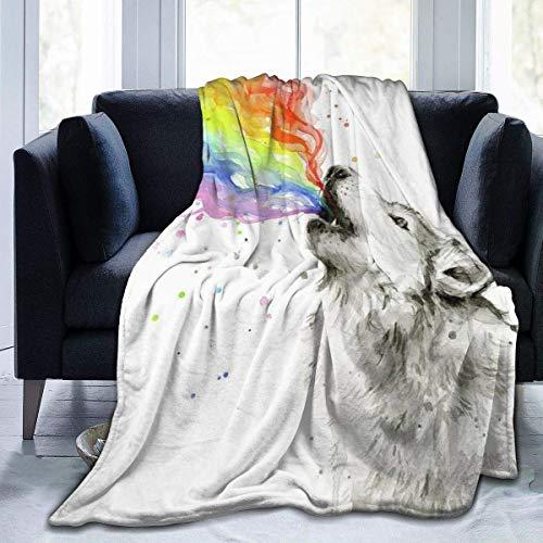 AEMAPE Gemütliche Plüsch Fuzzy Fleece Decke Wolf Spray Regenbogen 3D-gedruckte Decke Ultraweiche Mikrofaser Fleece Tagesdecke für Bettwäsche Couch Erwachsene Jungen Mädchen