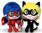 Miraculous Packung 2x Plüschtiere Superheldin Ladybug & Cat Noir 27cm Plüsch Adrien Agreste und...