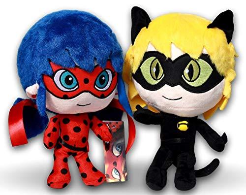 Miraculous Packung 2x Plüschtiere Superheldin Ladybug & Cat Noir 27cm Plüsch Adrien Agreste und Marinette Stofftier Kuscheltiere Serie