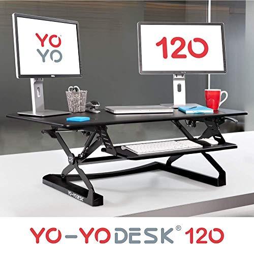 Yo-Yo DESK 120 (Schwarz) | Stehschreibtisch Erweiterung - TÜV Rheinland geprüft - Bürotisch höhenverstellbar (120 cm breit) Stehpult für Ihren ergonomischen Steharbeitsplatz