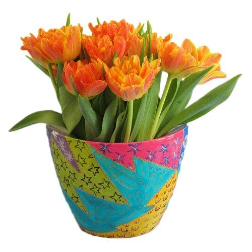 Fabuloso regalo de Pascua, color de primavera para la madre o esposa - Maceta or jarrón en porcelana pintada a mano para plantas in diseño original de Caroline Hely Hutchinson 'Africa' , caja lujo de regalo