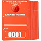 Temporary Hanging Parking Permit for Car Parking Management, Numbered 1-100 (3.15 x 4.75 in, Neon Red)