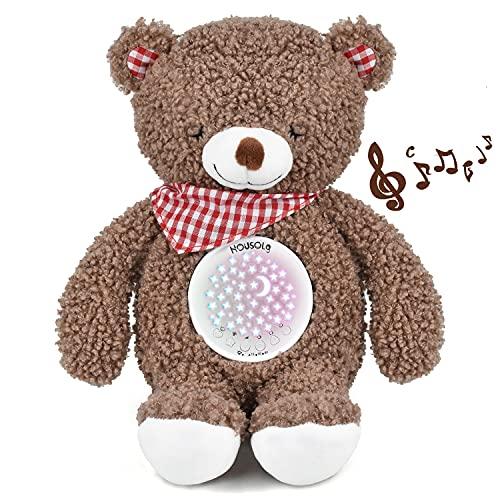 Einschlafhilfe Babys,Housoly Wiederaufladbar Baby Spieluhr mit Beruhigende Musik,Nachtlicht Sternenhimmel Projektor,Eingebaute Schrei-Sensor,Zeitschaltuhr,Teddy Plüsch Geschenk für Junge und Mädchen