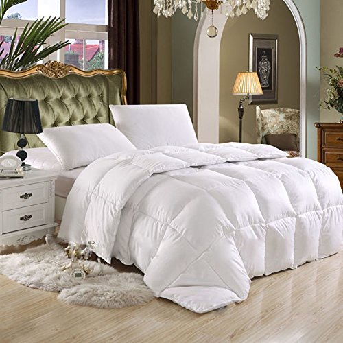 Luxurious Full / Queen Hard-to-FIND 80 Oz Fill Weight Goose Down Alternative Comforter, 600 Thread Count 100% Egyptian Cotton Cover, 750 Fill Power, Solid White Color