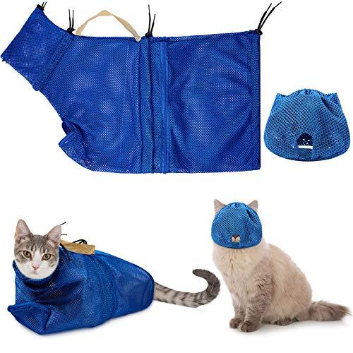 Weewooday 2 Stücke Katze Pflege Waschen Mesh Tashce Katze Maulkorb Atmungsaktiver Mesh Maulkorb Verstellbare Kätzchen Kratzfeste Katzen Rückhaltetasche Feste Tasche Katzen Badtasche (Blau)
