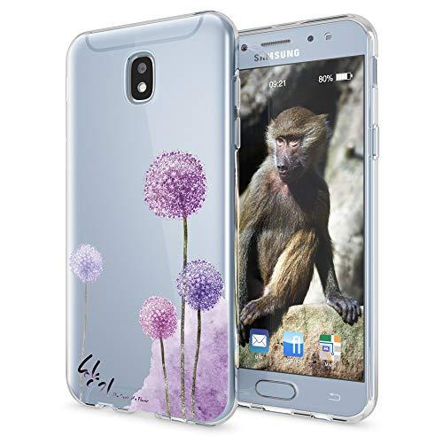 NALIA Handyhülle kompatibel mit Samsung Galaxy J3 2017 (EU-Modell), Motiv Design Schutzhülle Slim Silikon Hülle, Handy-Tasche Hülle Smart-Phone Etui Muster Back-Cover Dünn, Designs:Dandelion Pink