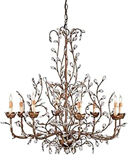 Currey & Company Bud Chandelier Crystal Nature Inspired Natural Larg