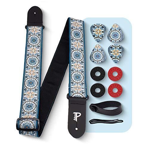 Perri's Leathers Ltd Gitarrengurt mit Mandala-Motiv, Polyester, inkl. 3 mittelgroße 0,71 mm Gitarrenplektren, Leder-Akustikadapter, 4 Gurtschlösser und Schnürsenkel, Blau