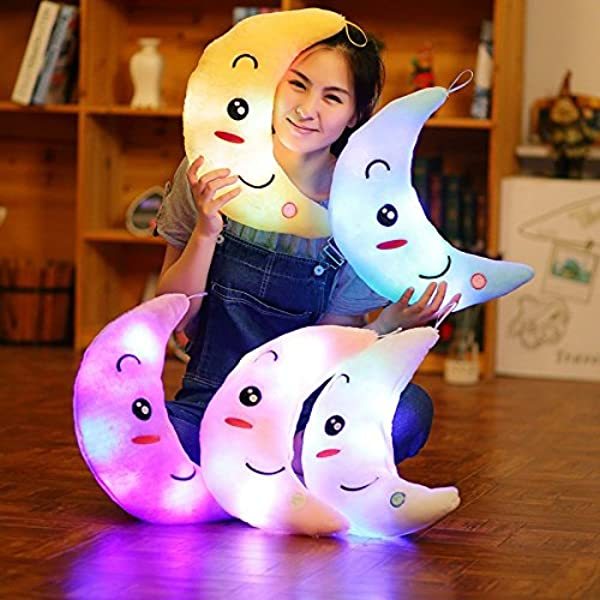 Supper Cute Light Up Smiling Moon Throw Pillow Cushion Plush Stuffed Toys Sparkling Moon Plush Toy With 7 Colors Change LED Lighting Pink 35 X 15cm