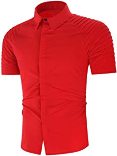 Stoota Mens Henley Shirt Short Sleeve,Pure Color Gradient Loose Dress Shirt