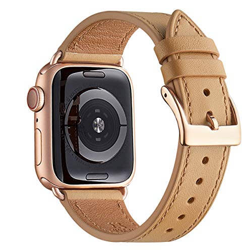 WFEAGL Compatibile con Cinturino Apple Watch 42mm 44mm 38mm 40mm, Pelle Cambiamento Cinturini Compatibile con Watch Serie 5 Serie 4/3/2/1(38mm 40mm,Luce Marrone/Oro Rosa)