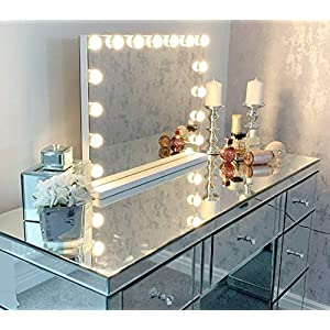 Hansong Large Vanity Makeup Mirror with Lights,Hollywood Lighted Mirror with 15 pcs Dimmable Led Bulbs for Dressing Room…
