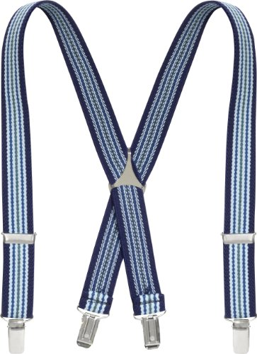 Playshoes Unisex - Kinder Hosenträger 603001 Modische gestreifte Hosenträger für Kinder, Gr. 60, Blau (hellblau/marine)