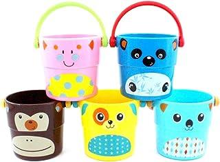Toyvian 4Pcs Children Bathing Bucket Beach Sand Water Pail Toy Bathtub Bucket Water Pour Toy (Random Pattern)