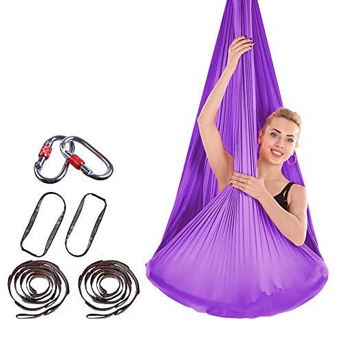 Brinny Toalla de yoga Aerial DIY Premium Equipment de yoga elástica hamaca anti gravedad juego de yoga con accesorios de tela 4 m x 2,8 m