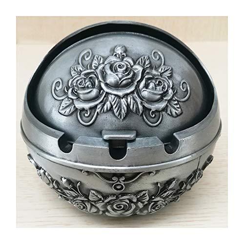 Fresco cenicero con tapa, papelera de metal con diseño de rosa, decoración de mesa con aleación de zinc StyleName Size plata