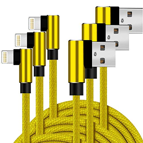 Boost+ 90 Degree Chargers 3 Pack 6 Feet Right Angle Ergonomic Extra Long Fast Charging USB Power Charge & Sync Cable Cord, Yellow