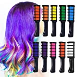 Hair Chalk Comb, Owlbbabies 10 Colors Temporary Hair Color Chalk Dye Crayon Salon Set for Girls Teen Kids Adults Gift, Safe Washable Makeup Kit for Birthday Christmas Party Cosplay DIY