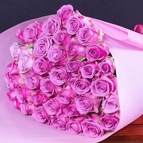 紫バラの花束 バラギフト専門店のマミーローズ 選べるバラ本数セレクト 贈り物の豪華な紫バラの花束 パープルローズ purple rose bouquet(生花) (44本)