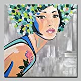 wZUN Hermoso Mural con Flores sobre Lienzo y Flores en la Cabeza 60x60 Sin Marco
