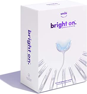 bright on™ Teeth Whitening Kit with 9 Premium Hydrogen Peroxide Pens and 20-LED Accelerator Light, Brighten 3x Faster Than Strips - 12 Month Supply, USB, USB-C, microUSB & Lightning Adapter