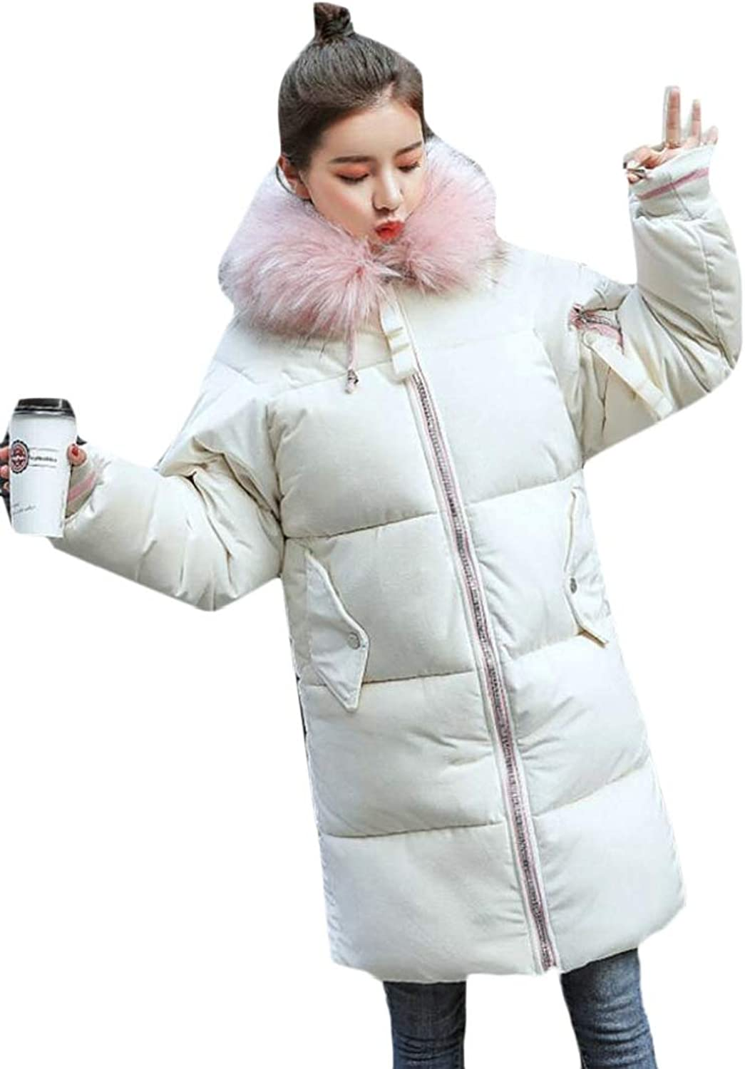 Maweisong Women Casual Faux Fur Hooded Warm Thick Down Jacket Puffer Coats