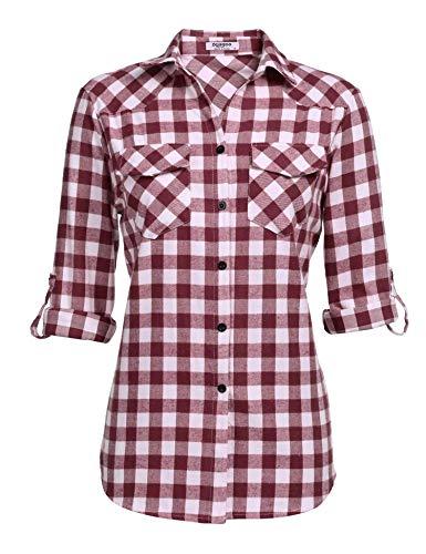 UNibelle Kariertes Hemd Damen Langarm Karohemd Bluse Damen Baumwolle mit Einstellbare Ärmeln(Weinrot,XXL)