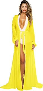 013ef19b63256 Pink Queen Women's Long Sleeve Flowy Maxi Bathing Suit Swimsuit Tie Front  Robe Cover Up