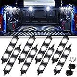 LED Truck Bed Lights, 8PCS 24 LED Rock Light for Truck Pickup Cargo Bed, Truck Bed Lighting Off-Road Under Car, Marker Foot Wells LED Rock Lighting Kit White, 3 Years Warranty