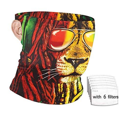 ENZOOIHUI Rock Rasta Lion Bandana Ear Loops con 6 Filtros Cuello Gaiter Headwear, UV Protection Face Scarf Mask Balaclava