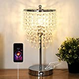 Xydstay Crystal Table Lamp, 3 Way Dimmable Bedside Touch Lamp Decorative Modern Lamp with USB Charging Port Elegant Beautiful Nightstand Lamp for Bedroom Living Room Office (LED Bulb Included)