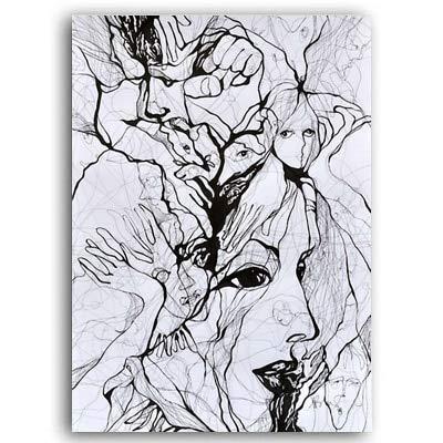 Habitacin infantil decoracin del hogar tinta abstracta acuarela personaje cara arte de la pared lienzo pintura carteles e impresiones POP decoracin sin marco cuadros A24 60x90cm