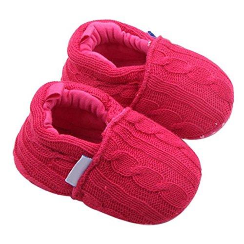 Chaussures de Bébé, LuckyGirls Semelle Souple Hiver Chaud Chaussures Bottes - Fil Laine - 0~18 Mois (Âge: 0~6 Mois, Rose Vif)